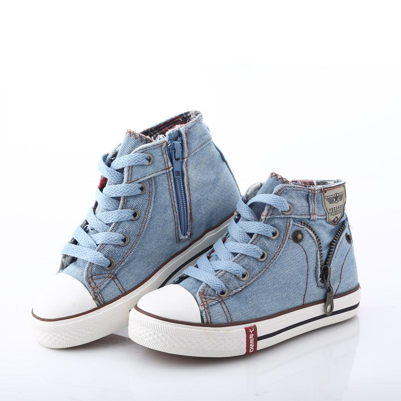 Size25~37 Children Shoes Kids Canvas Sneakers for Boys Girls denim jeans Girl Boots Flats High-top Shoes with Zipper