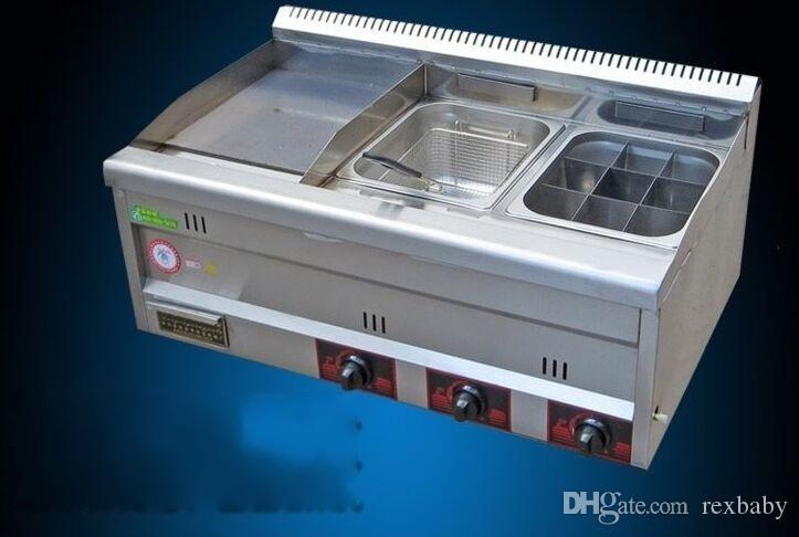 Fryer Ticari Gaz kalbur Paslanmaz Çelik Fritöz Gaz Patates Cips Fryer Machine ile Gaz kalbur