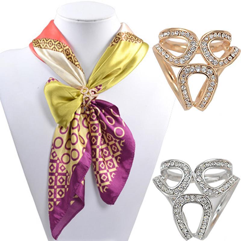 Giyim atkısı Şallı için Kadınlar Basit Moda Üç Yüzük Eşarplar Toka Eşarp Halka Wrap Tutucu Kelepçe İpek Sarf toka