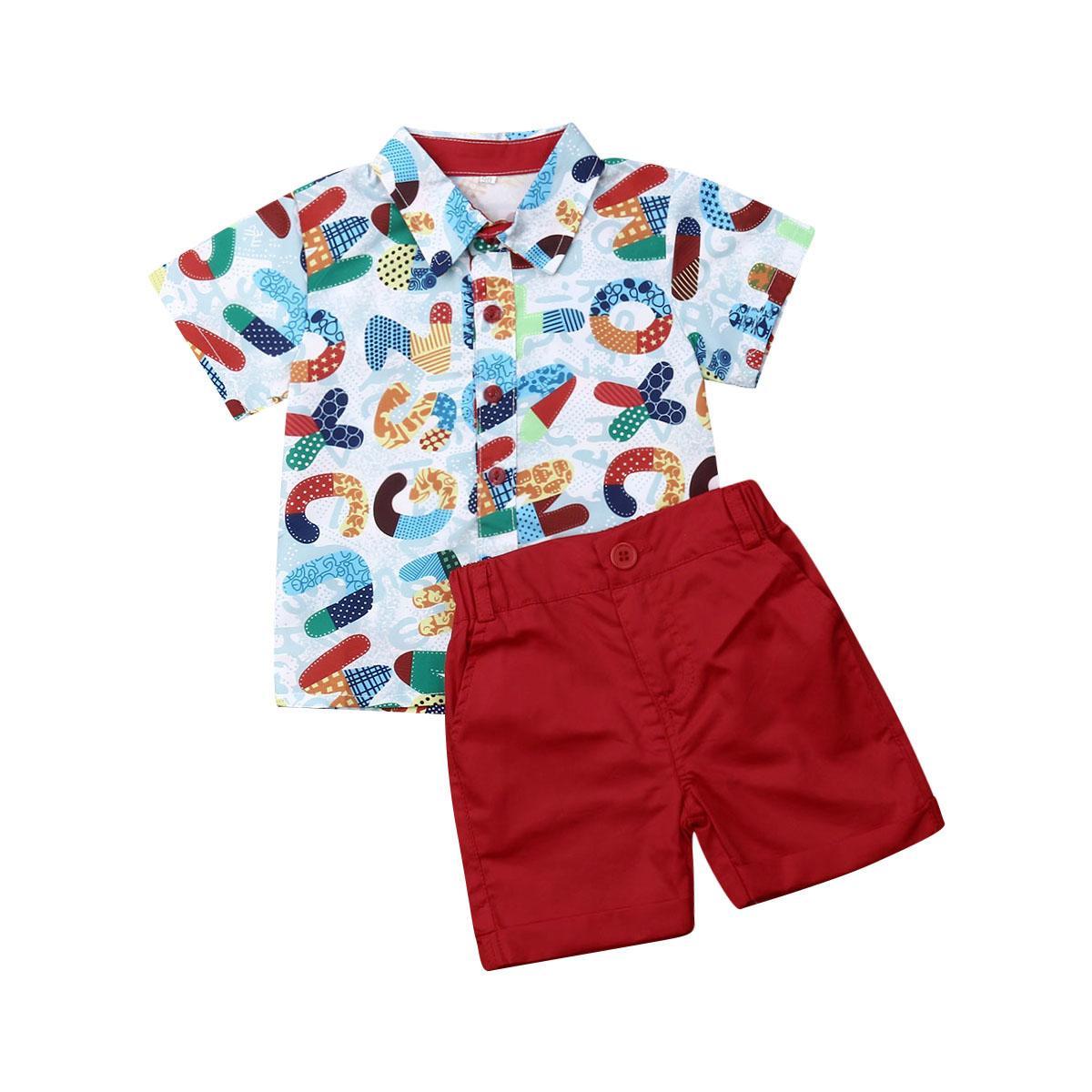 2019 Baby Summer Clothing Infant Boys Baby Kid Castle Print Tops Short Sleeve T shirt Shorts Pants Outfits Santa Clothes 1-6T