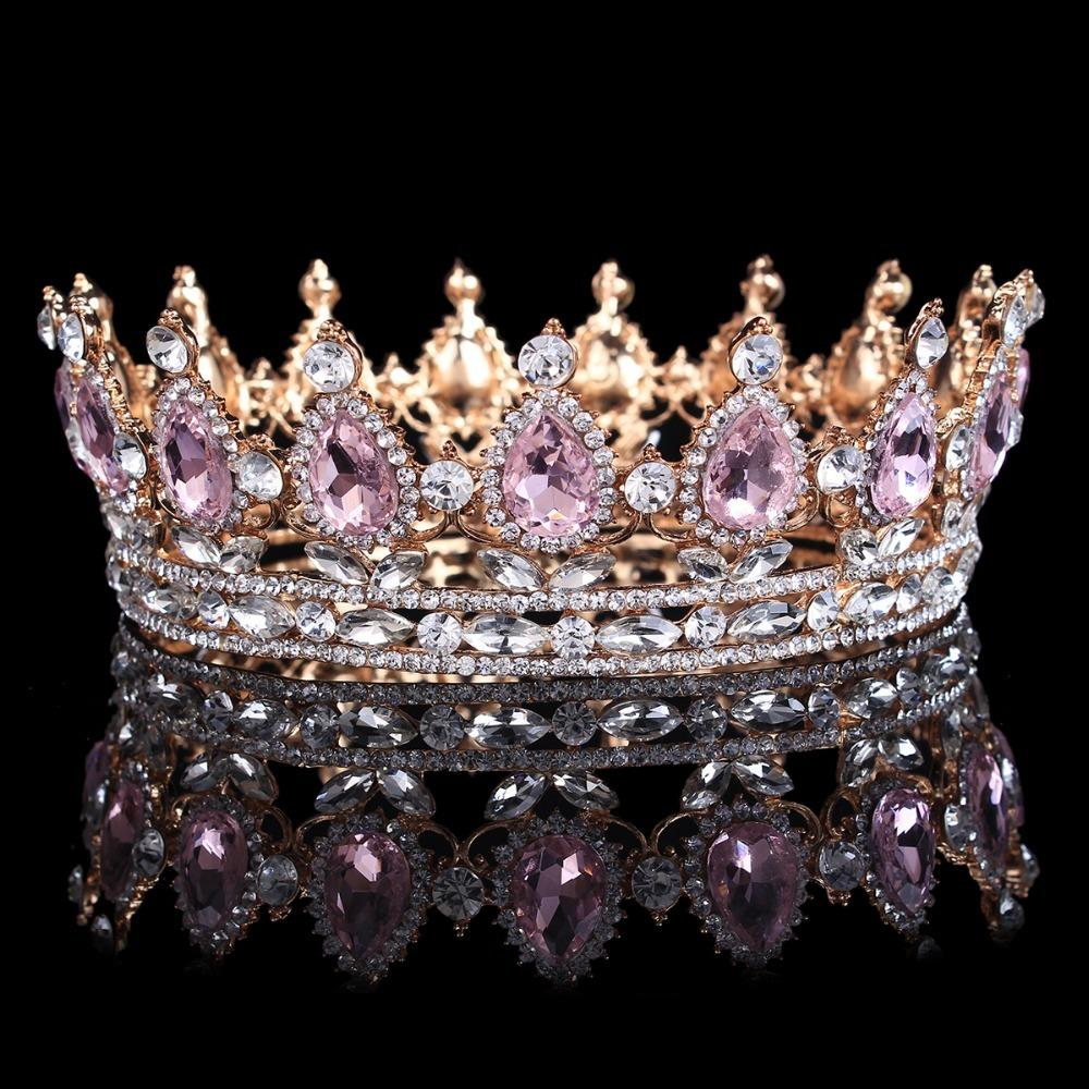 Hot sale New Fashion Elegant Pink Crystal Bridal crown classic Gold Tiaras for Women Wedding hair jewelry accessories C18112001