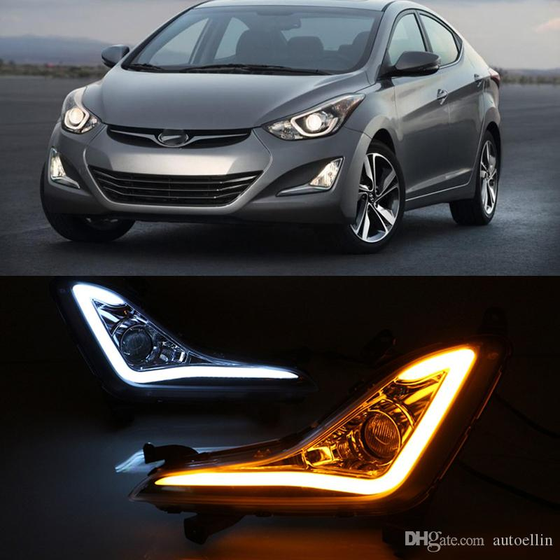 2Pcs For Hyundai Elantra 2014 2015 LED DRL fog lamps cover daytime running light Daylight with turn signal yellow
