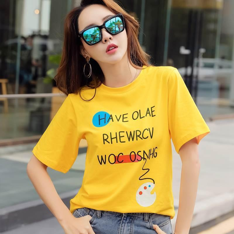 Gigogou Camiseta Mujer Printing Letter Women Tshirt Korea Style Chic Cotton T Shirt Summer Short Sleeve Top Tee Shirt Femme Y19042501
