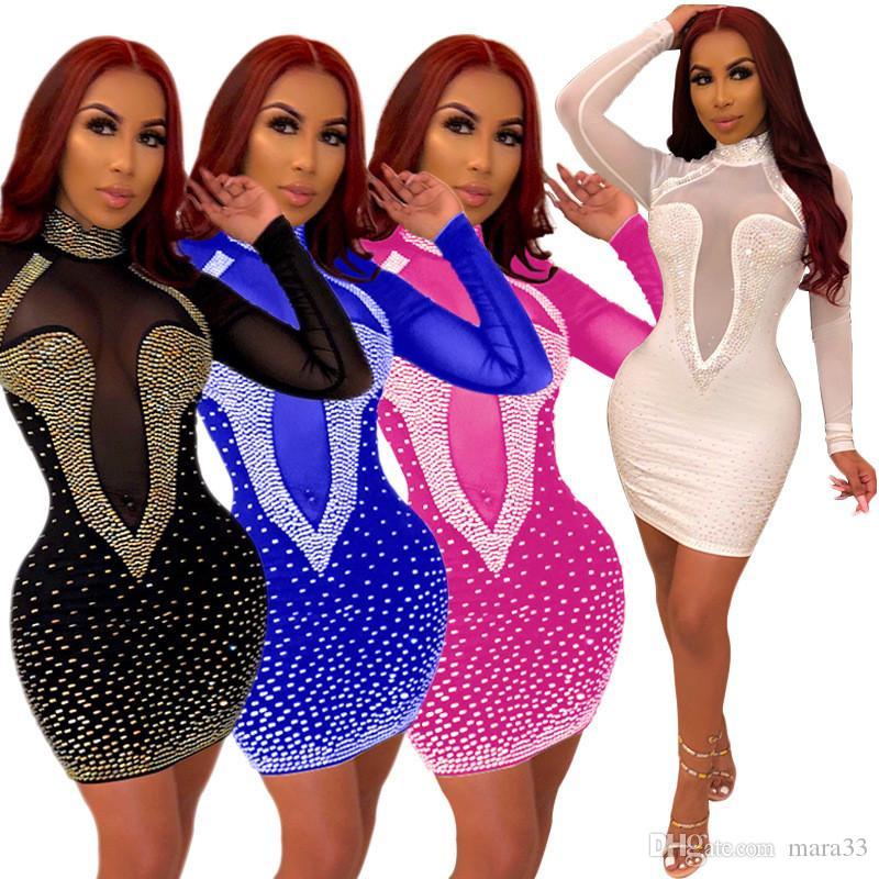 Largo Casual Verano Venta Vestidos Funda Larga Cuello Mini Manga Soporte Soporte Faldas Malla Sexy Club Hot Columna Vestido de fiesta Lentejuelas Mujeres DPCB