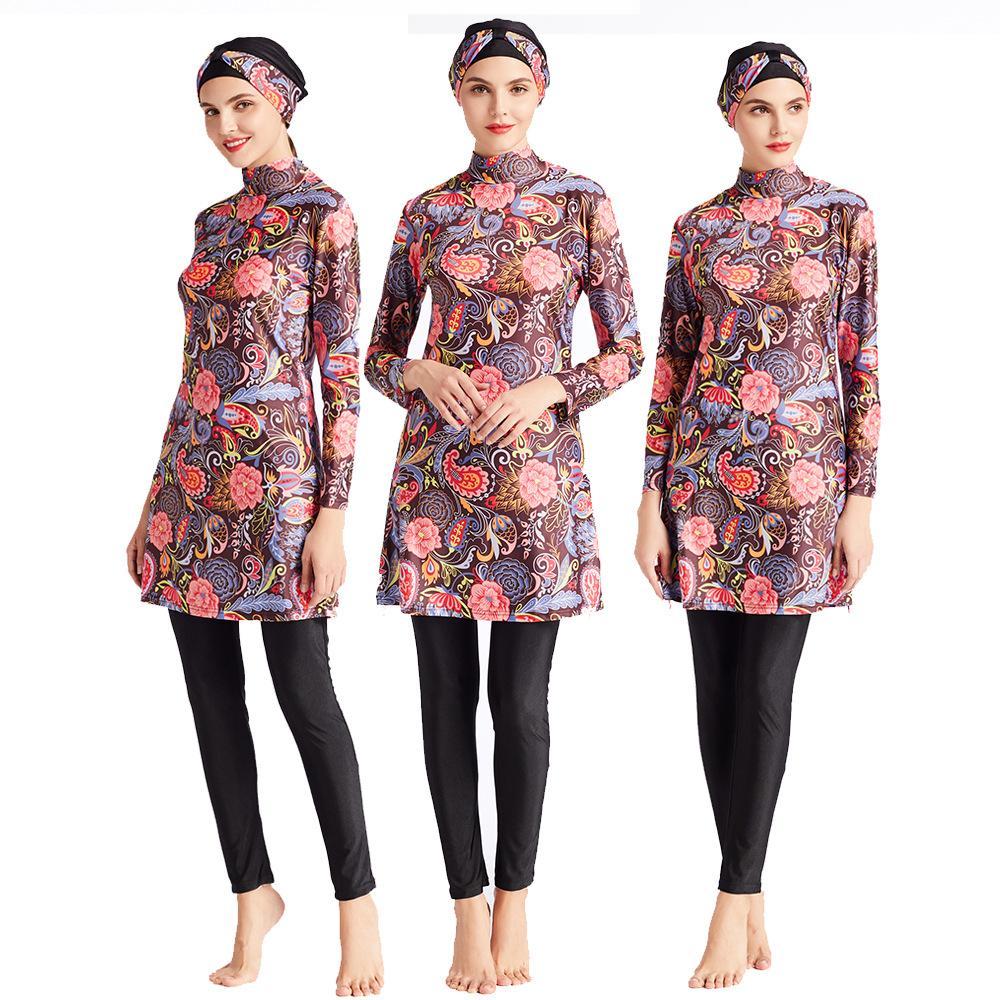 보수적 인 이슬람은 세 조각 Burkini 히잡 인쇄 수영복 소녀 이슬람 중동 이슬람 수영 착용 M016 수영복