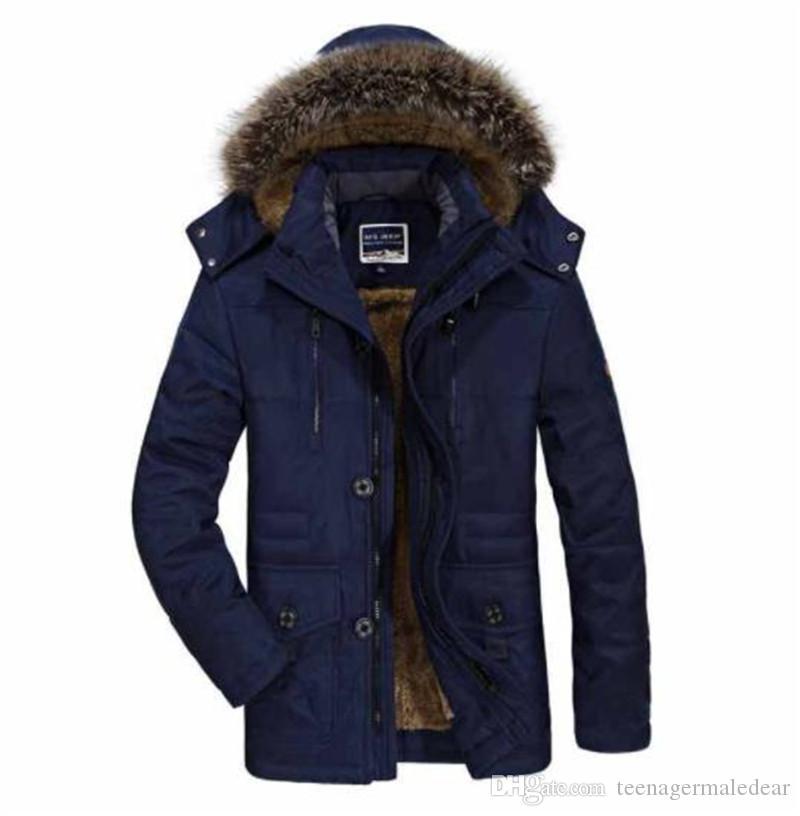 Casual espesado con capucha para hombre Protección contra el viento de invierno de bolsillo hacia abajo más el tamaño de las capas media larga para hombre de color sólido de vestir exteriores del remiendo del Hombre Ropa
