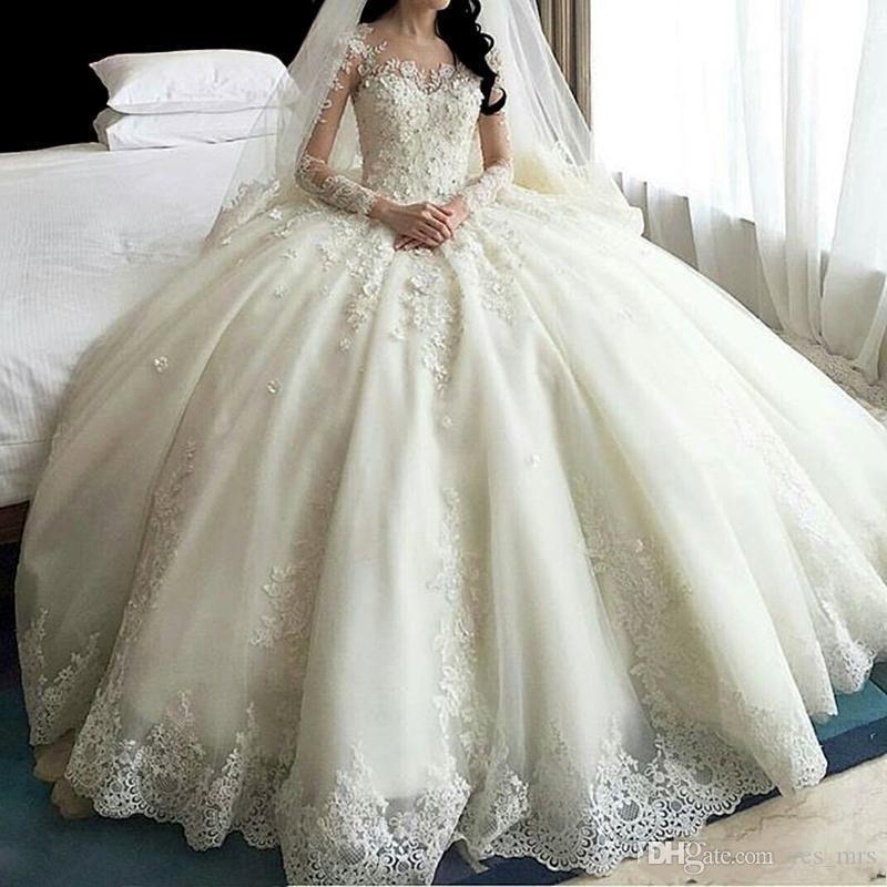 2020 새로운 럭셔리 아랍어 공 가운 웨딩 드레스 보석 목 레이스 3D 아플리케 긴 소매 대성당 기차 프릴 플러스 사이즈 신부 가운