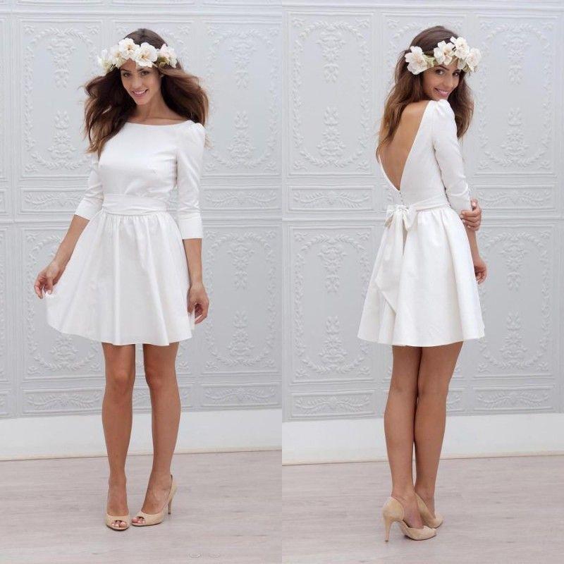 Wholesale-Simple Satin A Line Short Wedding Dress vestidos de novia Scoop Neck 3/4 Long Sleeve Backless Wedding Gown With Bow