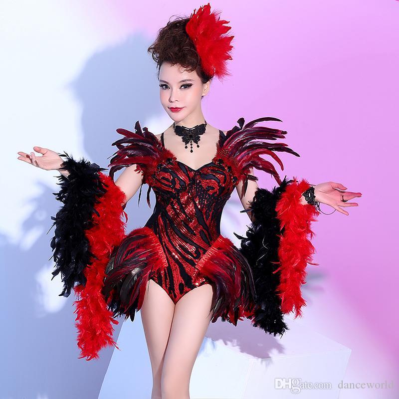 2020 Feathers nuova Body Donne Femmina Palcoscenico Dj atmosferiche Europei E American Bar nightclub notte sexy DS costume di prestazione