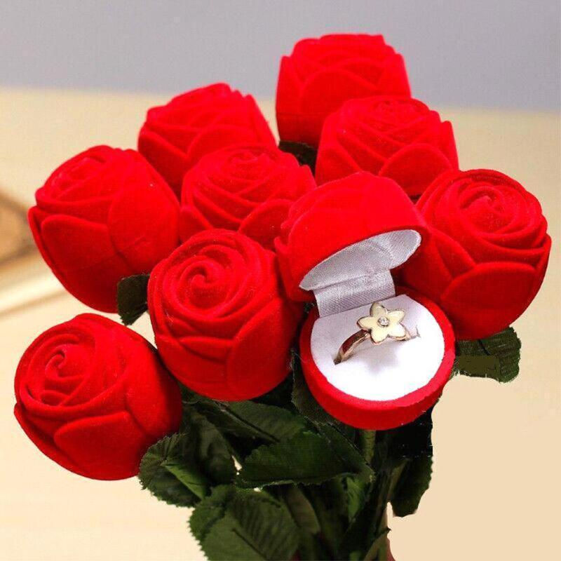 Romantic Red Rose Flower Ring Boxes Earrings Jewelry Gift Box for Engagement Wedding Decoration Valentine's Day Decor Supplies