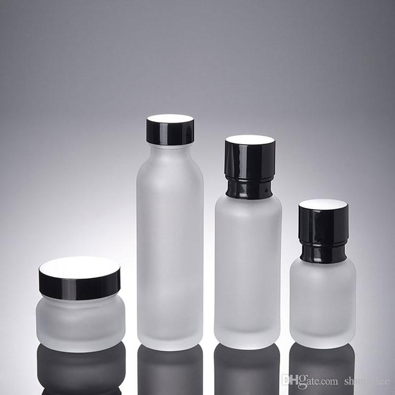 50ml Frosted Glass Beak With Pump Lotion Bottle With Plastic Pump,50g frosted Empty cream jar For Packaging Fast Shipping F3641