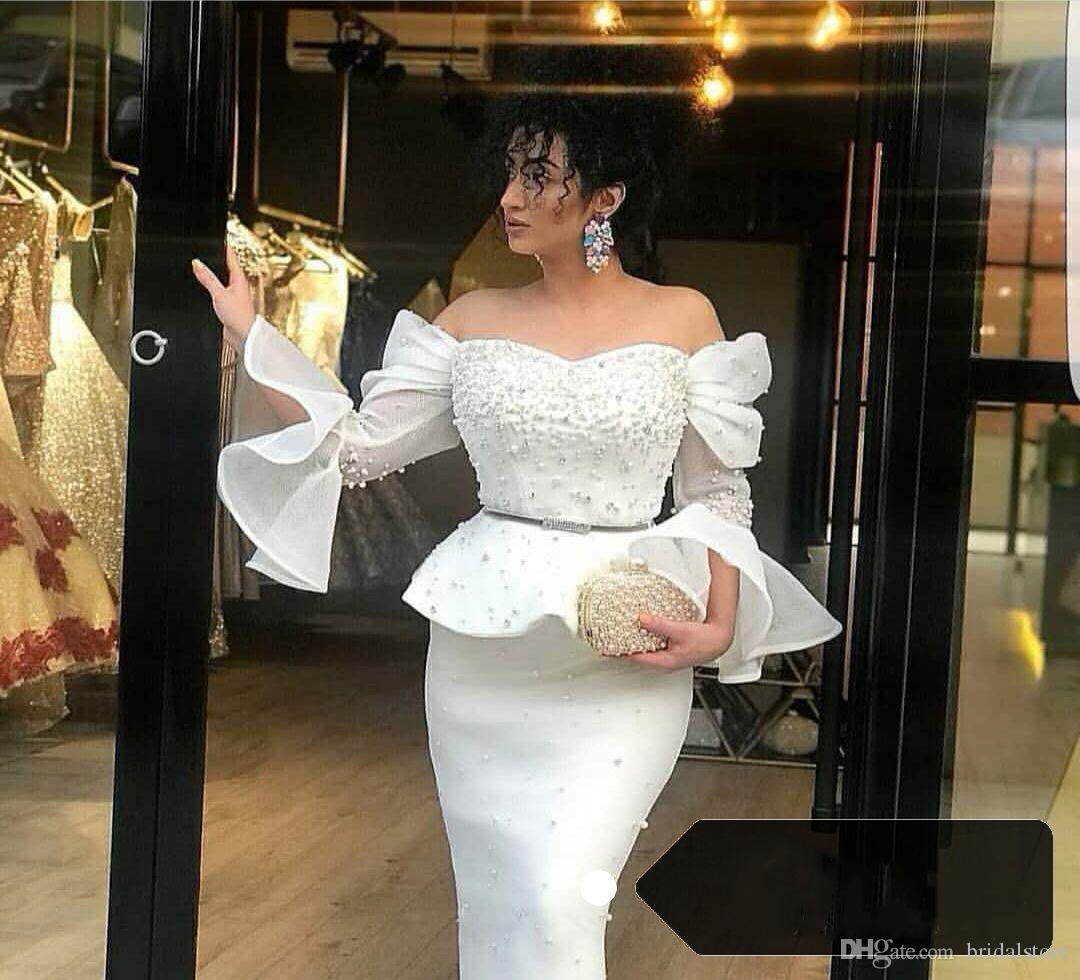 Guaina nera madre di abiti da sposa lunghezza del ginocchio Perla in rilievo Hot pink abito da ballo formale flare manica Off spalla sera 2018 causale economici