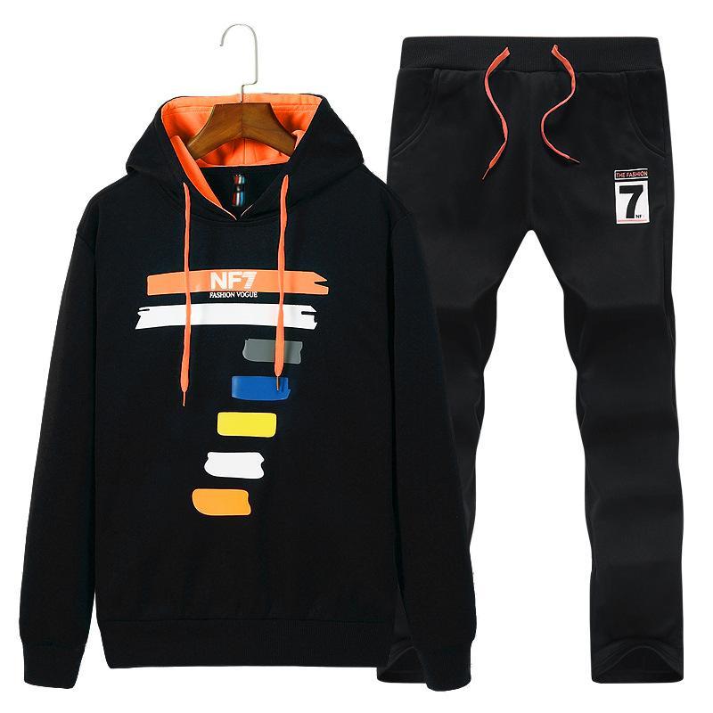 Conjuntos de deporte de los hombres 2020 otoño invierno con capucha de impresión Casual Male chándal Hombre Ropa de 2 piezas con capucha + pantalón Conjunto