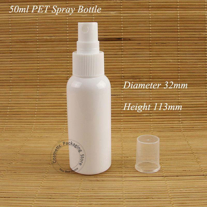 30PCS / لوط تعزيز 50ML البلاستيك رش زجاجة PET الأبيض البخاخة النساء مستحضرات التجميل 5 / 3OZ الحاويات عطر التعبئة والتغليف عبوة قابلة للتعبئة