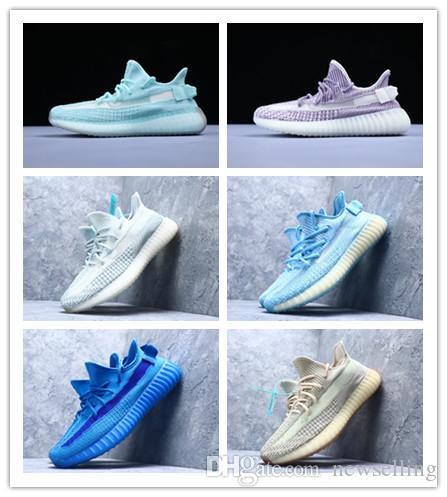 Kanye West Ice Blue Citrin Cloud Белый Фиолетовый кроссовки EG5566 мужчины женщина мальчик девочка 2.0 новые спортивные кроссовки на открытом воздухе дизайнеры