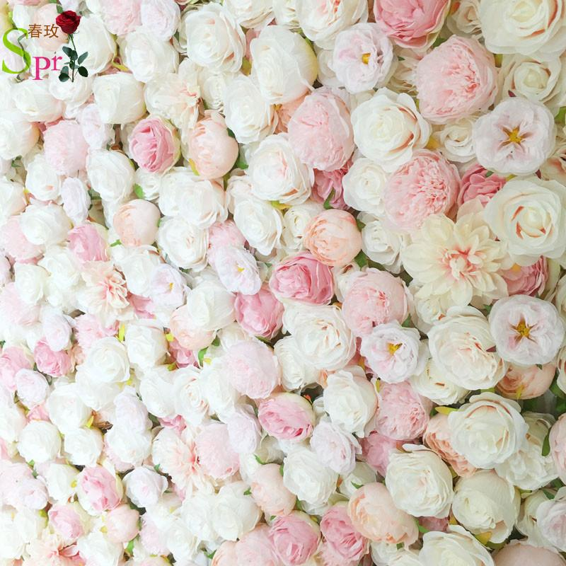 SPR 4FT * 8FT استحى الزفاف الوردي ارتفع نشمر زهرة جدار خلفية اصطناعية طاولة زهرة ترتيب محور الزخرفية