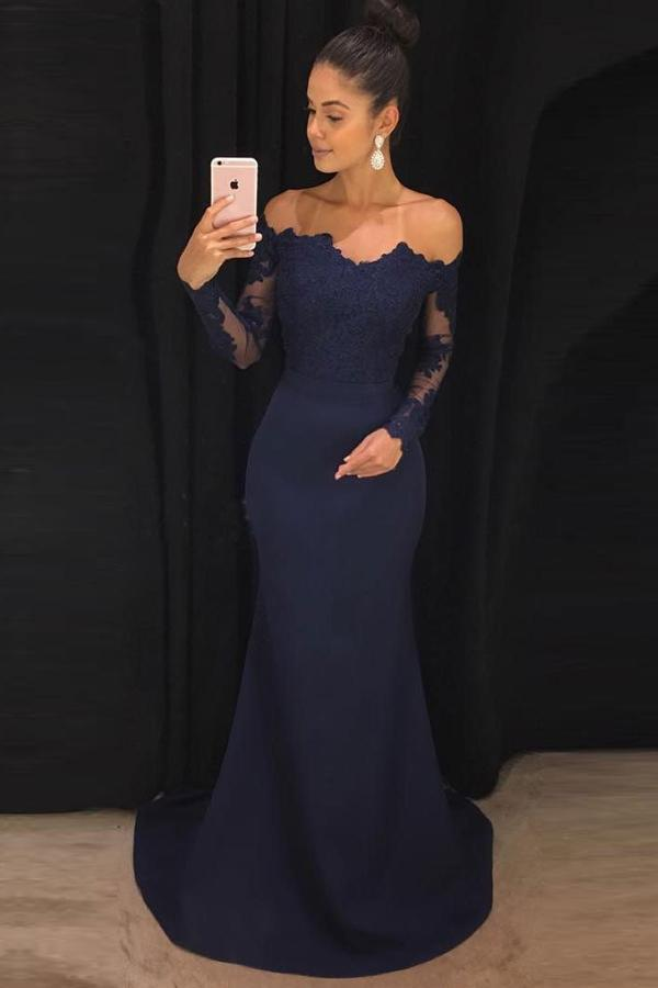 Abendkleider weg vom Schulter-Marine-Blau-Spitze-Abschlussball-Kleid-langen Hülsen-Nixe-Abend-Kleid 2019 Frauen Cocktailparty-Kleid-formales Kleid