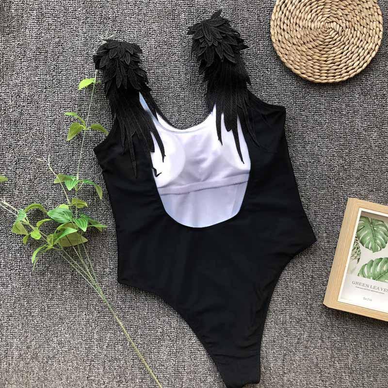 e2a3bce5d49 Wing Design One Piece Swimsuit Women 2019 Straps Solid Women Swimwear  Fitness Bodysuit Backless Bodysuit Push