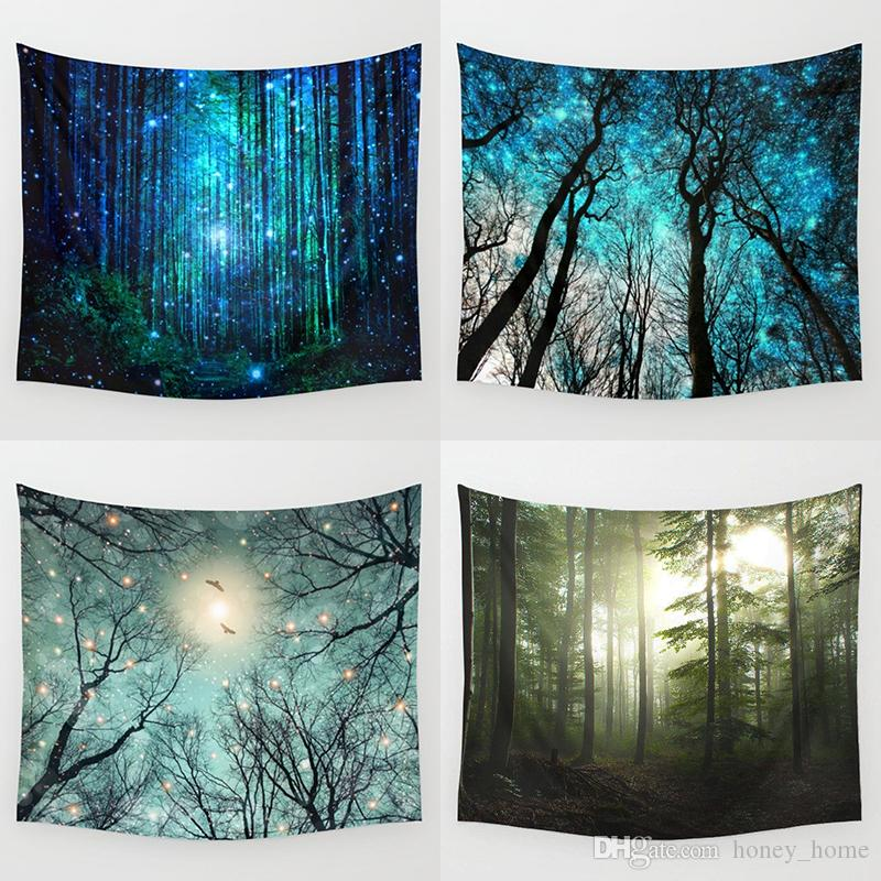 Psychedelic Forest Trees and Stars Tapestry Starry Sky Fabric Wall Hanging Decor Polyester Curtains Plus Table Cover Yoga