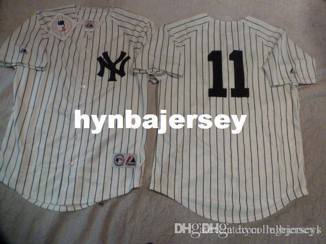 Ucuz özel GÖRKEMLİ New York BRETT GARDNER # 11 dikili Beyzbol Jersey BEYAZ Yeni Erkek Satılık formaları Büyük Ve Uzun SIZE XS-6XL dikişli
