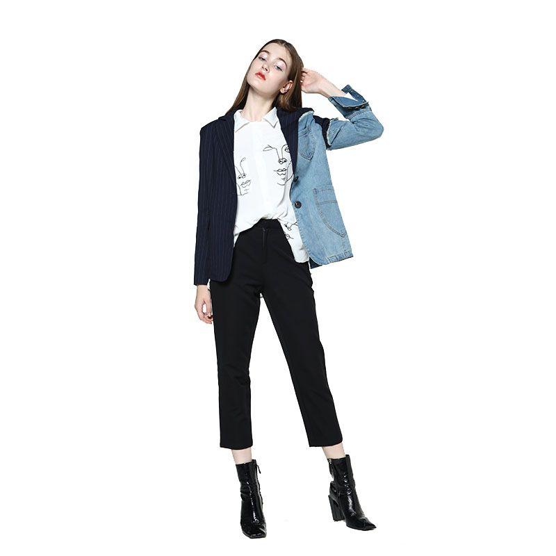 Großhandel GetSpring Damen Blazer Jacke Denim Jacke Für Frauen Blazer Jeans Anzug Denim Langarm Asymmetrische Gestreiftes Top Von Fashionoutfit,