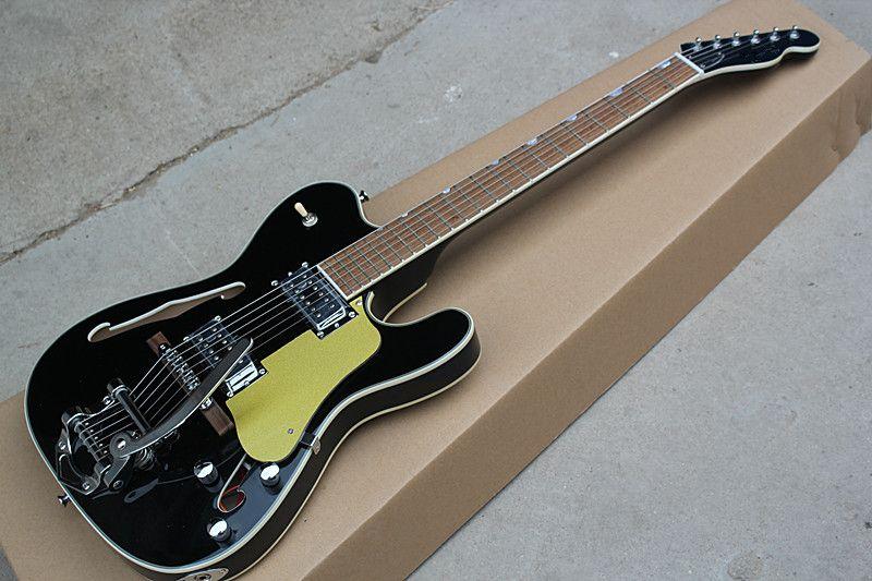 Factory Hot Semi-Hollow-E-Gitarren-Palisander mit schwarzem oder Pickguard-Material aus Chrom, das maßgeschneiderte Dienstleistungen erbringt.