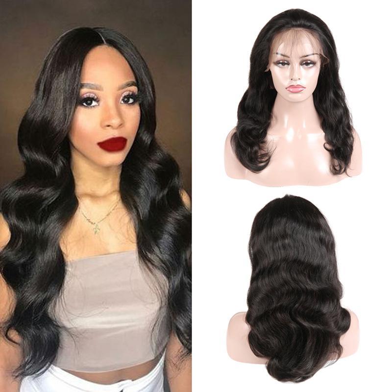 Frente del cordón pelucas llenas del cordón suizo Medium Brown Color de cabello humano pelucas brasileña de Malasia cuerpo de la Virgen de la onda del pelo peluca para mujeres Negro