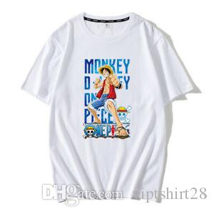 Homens Mulheres Camiseta Anime One Piece Luffy TShirts manga curta Tees Casual S XXXL