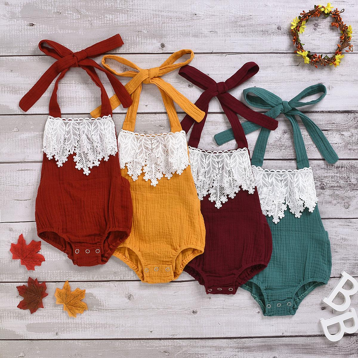 Kinder Kleidung, Mädchen, Jungen schnüren Hanging ärmel Body Kleinkind-Hals-Overall 2020 Sommer Neugeborene Babys Klettern Kleidung Z0665