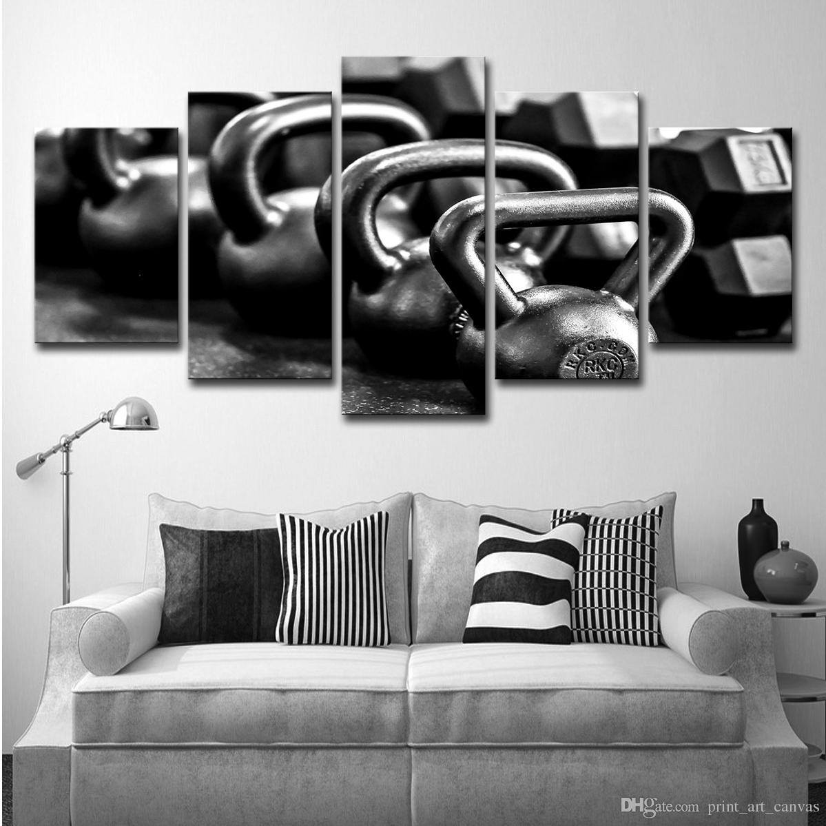 Canvas Painting 5 Piece Canvas Art Gym Dumbells Poster Metal Black and White Home Decor Wall Pictures for Living Room
