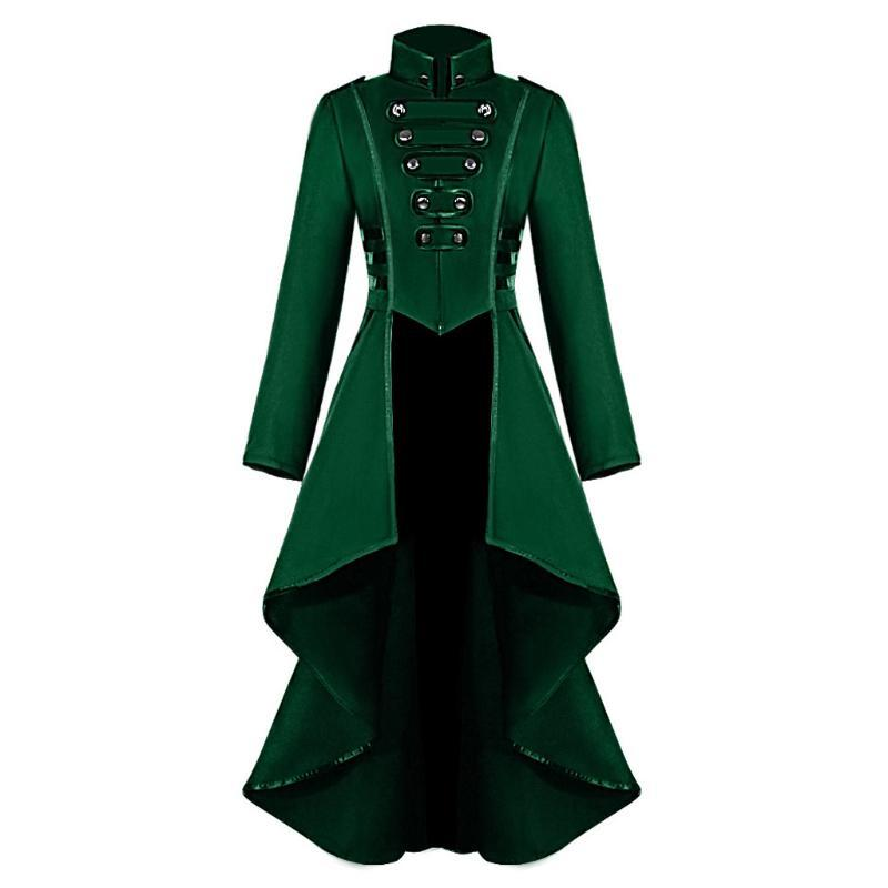 Cosplay de la chaqueta de las mujeres gótica de Steampunk Botón Abrigo Escudo traje del corsé de Halloween de encaje Tailcoat Jacket # YL10