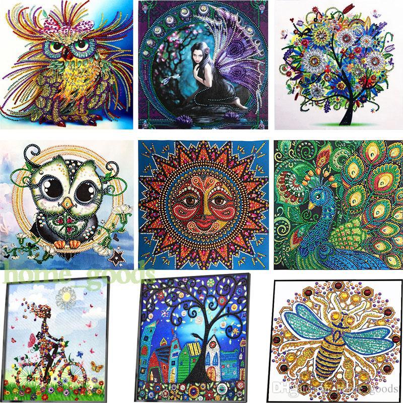 5d ديي مجموعات شكل اللوحة الماس عبر غرزة جزء خاص الماس التطريز البومة شجرة الراين جدار الفن قماش صور ديكور المنزل