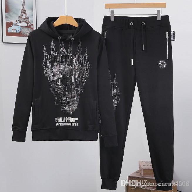 Uomini Sportswear con cappuccio e felpe nero Autunno Inverno Jogger sportive Mens tuta Tute Tute Set Plus Size M-4XL # 502
