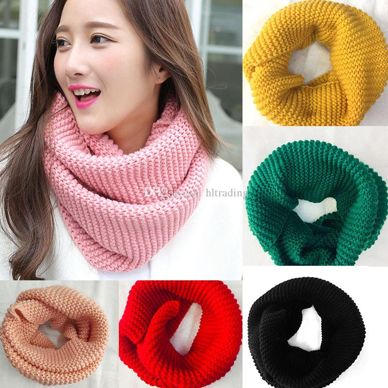13 Colors Knitted Woolen Warm Winter Scarf Neck Knitted Bib Warmer For big girls Snood Thermal Ski Cycling Ring Wraps Scarves 120*30cm M409