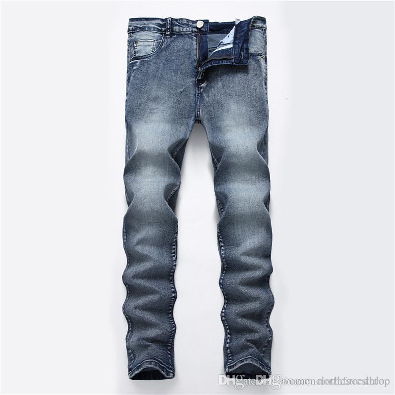 Mode Hommes Slim Jeans Designer Solid Color Washed Pantalons longs Designer Hommes Blanchi Zipper droites Jeans