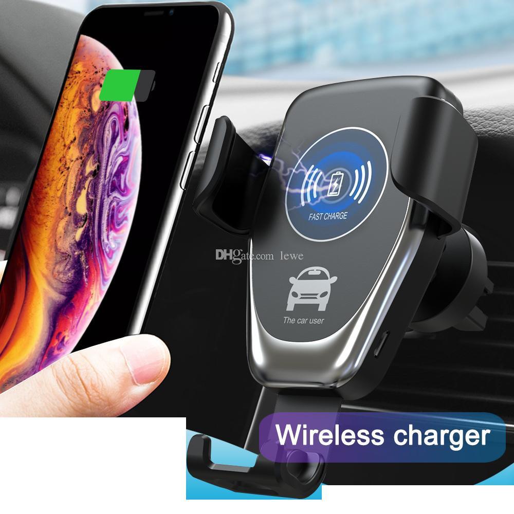 Qi 중력 무선 충전기 아이폰 X XR XS 맥스 8 플러스 10W 빠른 무선 차량용 충전기 삼성 S9 자동차 홀더 충전기에 대 한 충전 패드
