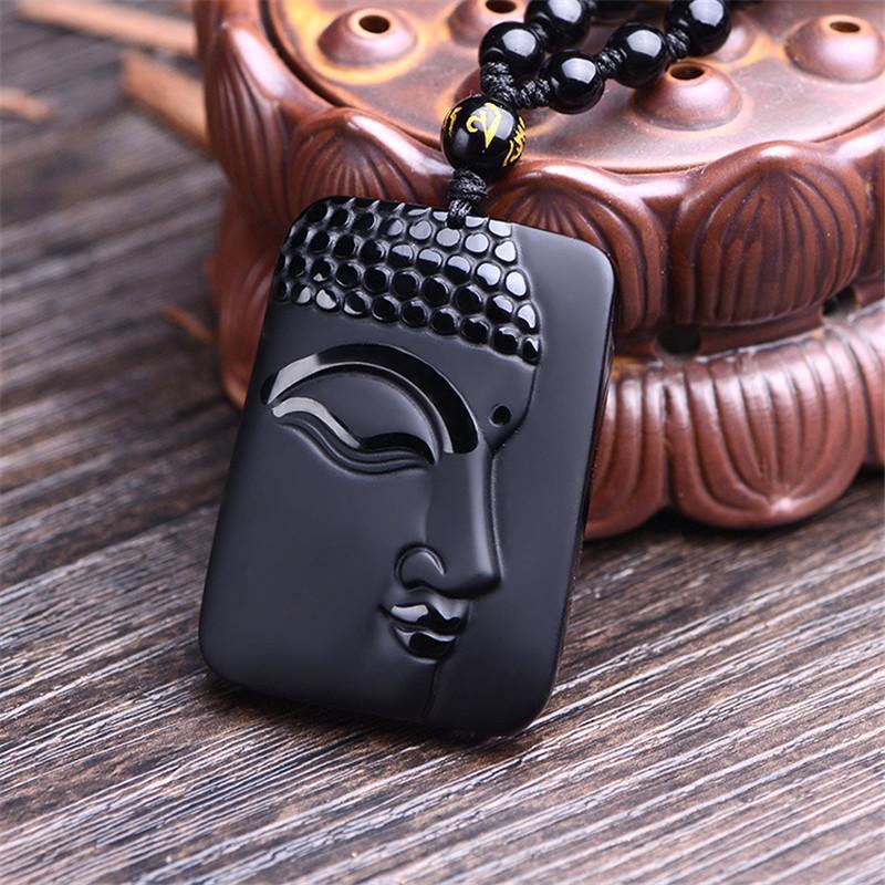 Природный черный обсидиан резные Будда повезло Амулет кулон ожерелье для женщин мужчины кулон ювелирные изделия