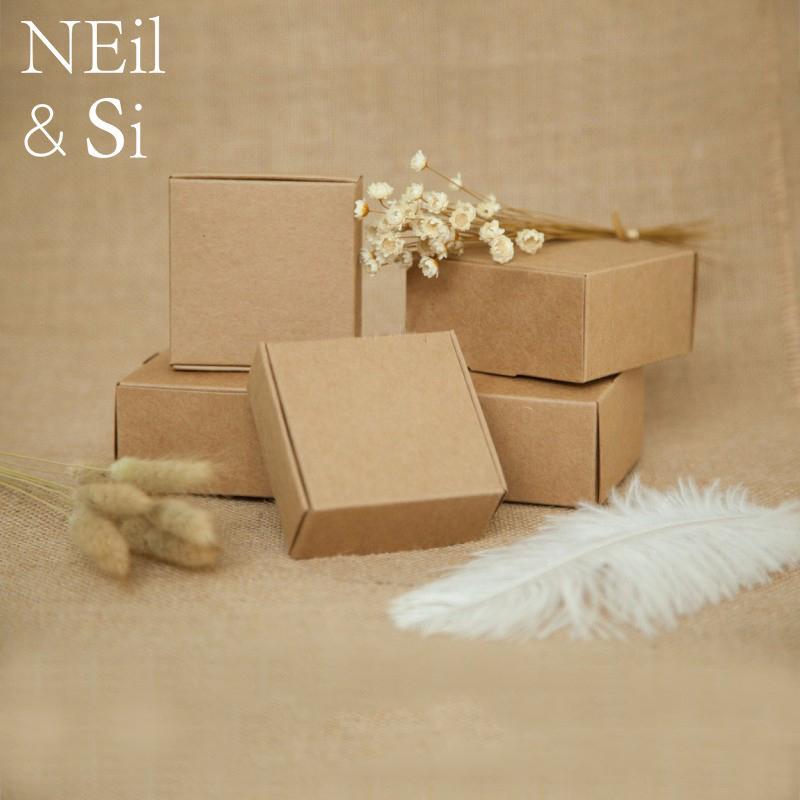 Favore del regalo del contenitore di carta fatta a mano del mestiere del sapone della festa nuziale del Packaging Vintage Brown Kraft inscatola il trasporto libero