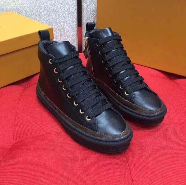 2021 Tasarımcı Sneaker Kalp Lüks Yüksek Üst Siyah Deri Bayan Sneakers Eğitmenler Ayakkabı Elbise Ayakkabı Kutusu Ile Kadınlar Için
