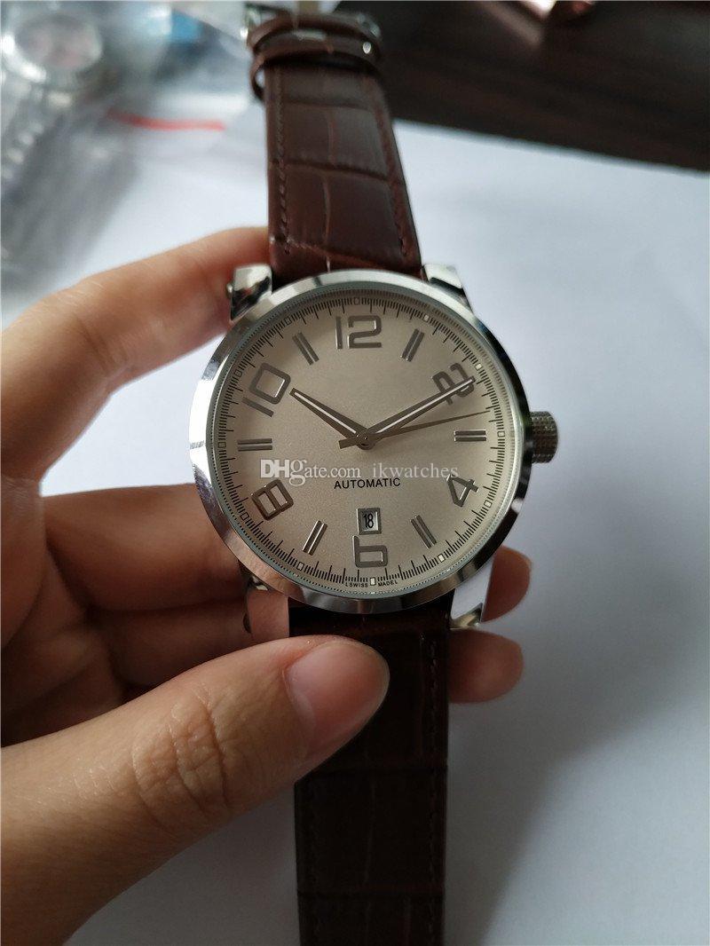 뜨거운 판매 남자 시계 명품 시계 기계식 자동 시계 손목 시계 블랙 가죽 스트랩 투명 유리로 돌아 가기 (11)