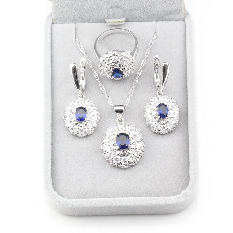 2019 Hot Selling 925 Sterling Silver Nice Women Costume Jewelry Sets Blue Zircon Earrings/Pendant/Necklace/Ring Size 6/7/8/9/10