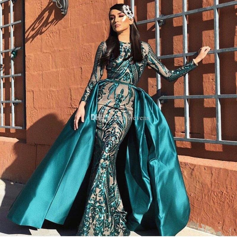 Vestidos de noche de manga larga con lentejuelas musulmanes Modest Musulmlin 2019 con trenes desmontables, lentejuelas de lentejuelas, marroquí, kafta, vestido de fiesta formal