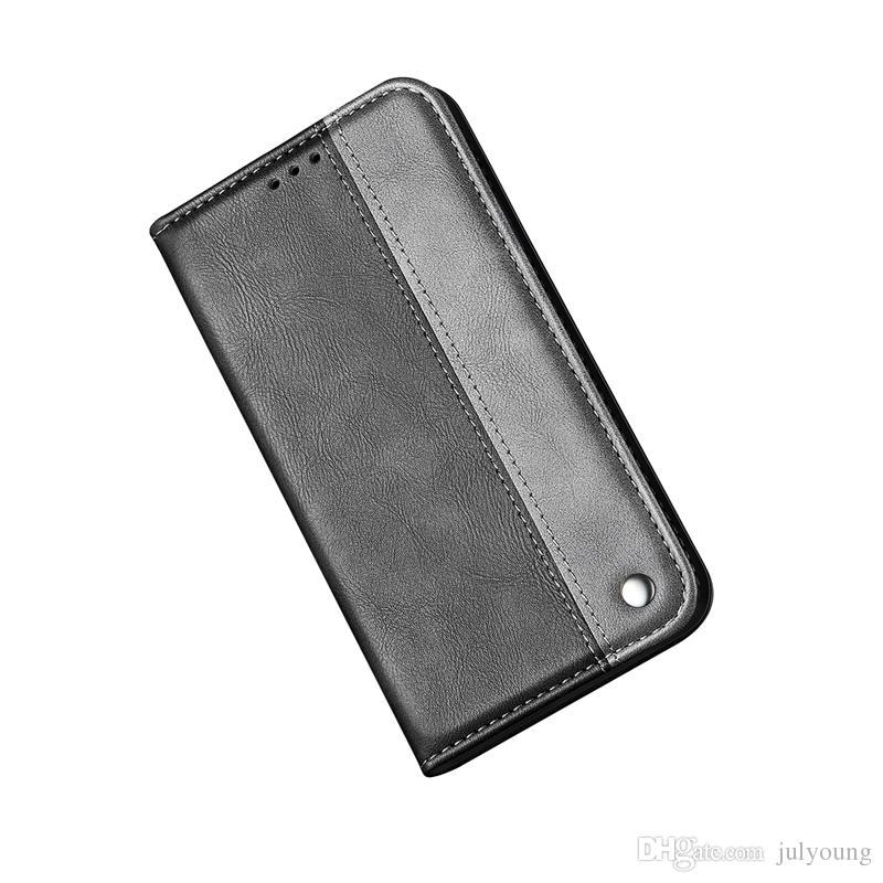 Iphone için 12 11 XS MAX XR X XS 8 Artı 7 6 SE 5 Deri Cüzdan Kılıf Kapatma Kapak Manyetik Kimlik Kart Yuvası Hibrid bicolor Holder çevirin Suck