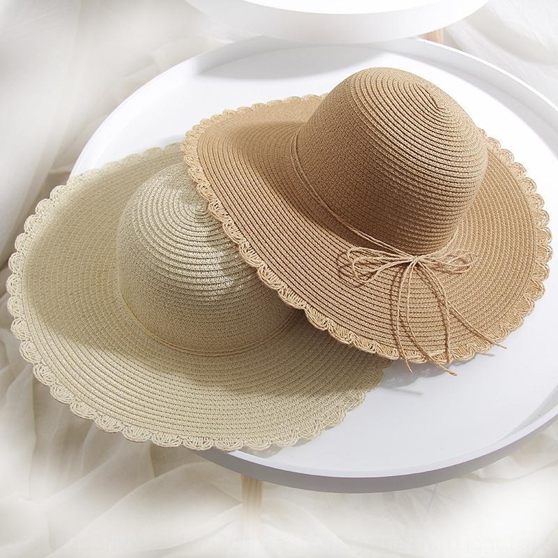 Été nouveau style coréen taille basse paille chapeau bowknot paille hatButterfly protection solaire Voyage de hatseaside femmes chapeau de soleil pliable femmes