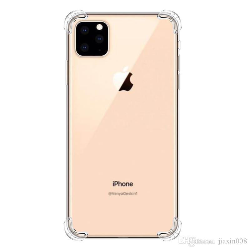 A prueba de golpes Transparente Funda de silicona para el iPhone 11/11 Pro / Pro 11 Max Claro protección contraportada + Lanyard