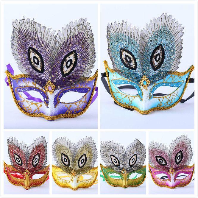 Heiß-Verkauf gemalt Pfauenaugenmasken Großhandel erwachsene Halloween Weihnachtstanz Kindergeburtstag Dekoration