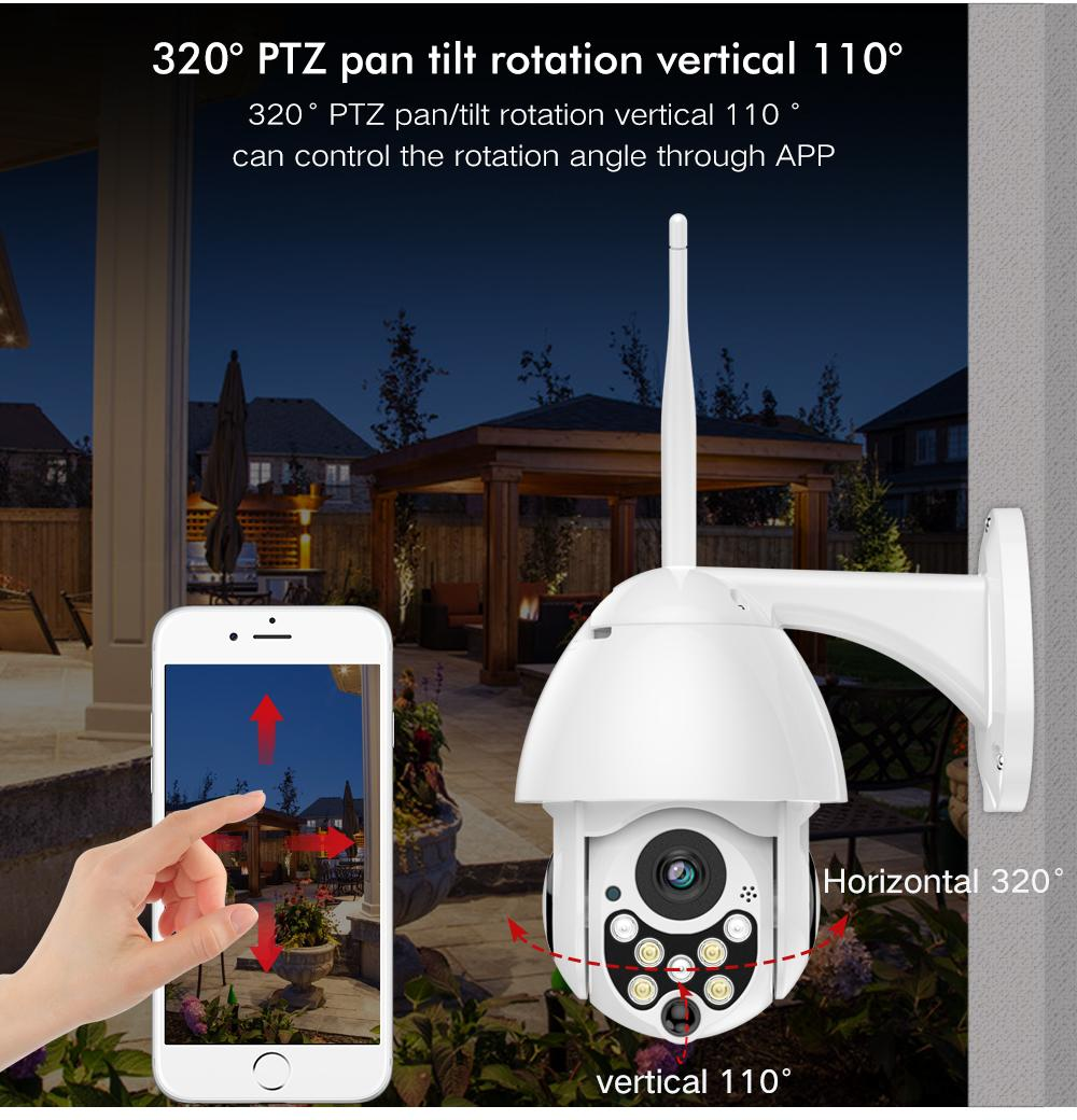 1080P 클라우드 스토리지 무선 PTZ IP 카메라 4 배 디지털 줌 스피드 돔 카메라 야외 WIFI 오디오 P2P CCTV 감시
