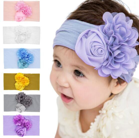 6 cores Baby Girl Rose Lace Stereo Flores Nylon Headband Moda suave Doce Cor Bohemia Bow menina infantil Acessórios de cabelo Headband