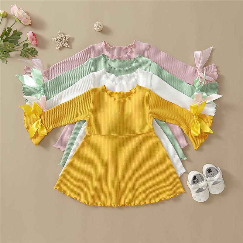 Mikrdoo Kids Baby Girl Cute Summer Party Dress Long Sleeve Solid Color Bownkot Cute Princess Dress
