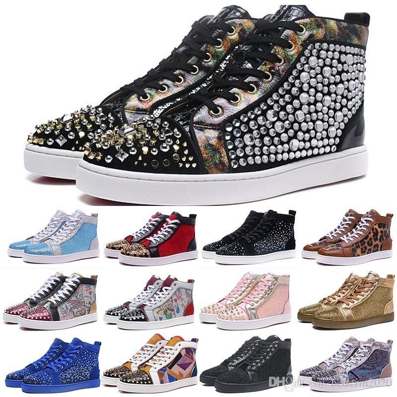 2019 nuovo fondo Designer è Red Sneaker scarpe di lusso da partito delle donne Mens Wedding cuoio genuino dei pattini casuali delle scarpe da tennis Spike 36-45